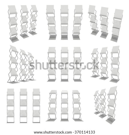3D Brochure Display. Magazine Rack Set. Trade show booth stand for magazines white and blank. 3d render collection isolated on white background. High Resolution. Ad template for your expo design. - stock photo
