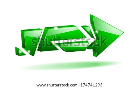 3D broken arrow pointer with reflection (raster version, available as vector too) - stock photo
