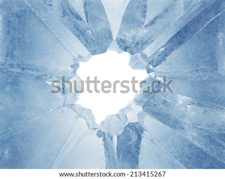 3d broken blue ice background, arctic broken hole, frozen frame - stock photo