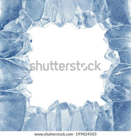 3d broken blue ice background, square hole, frame - stock photo