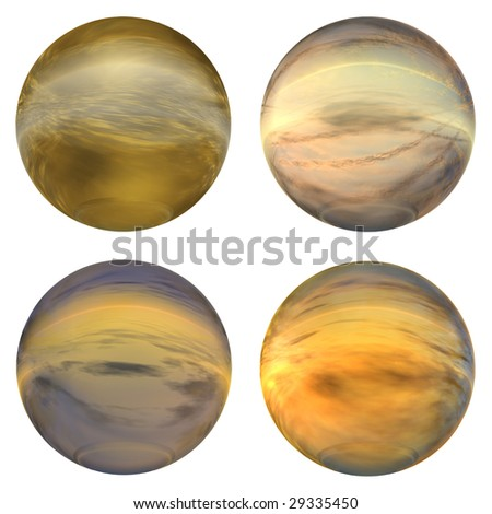 3d brown and orange glass spheres collection or set isolated on white background,ideal for 3D symbols, signs or web buttons. It is a sphere reflecting a blue sky with clouds - stock photo