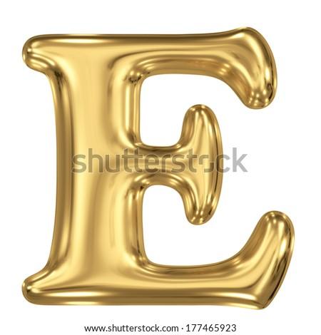3d brushed golden letter - E. Isolated on white. - stock photo