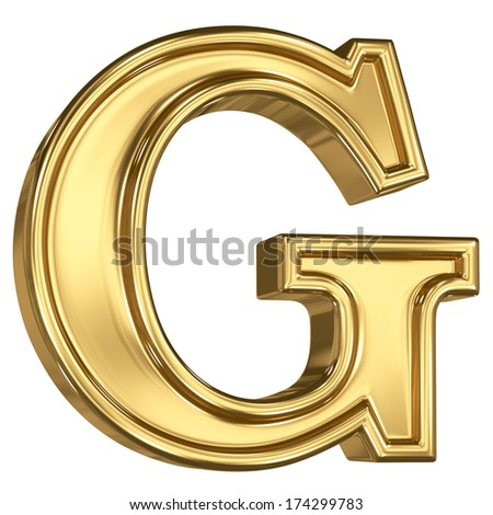 3d brushed golden letter  - G. Isolated on white. - stock photo