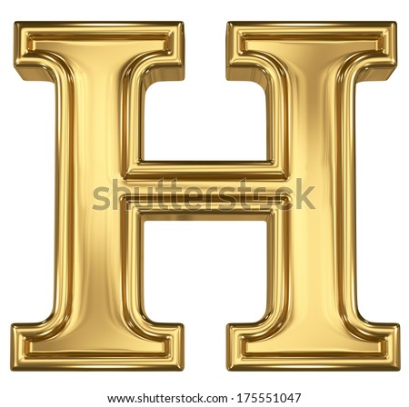 3d brushed golden letter - H. Isolated on white. - stock photo