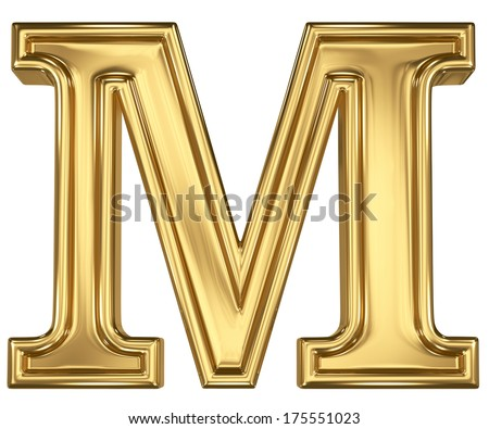 3d brushed golden letter - M. Isolated on white. - stock photo