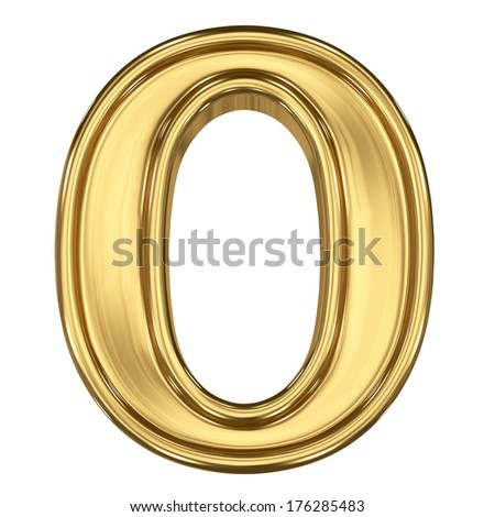 3d brushed golden symbol - figure number zero. Isolated on white. - stock photo
