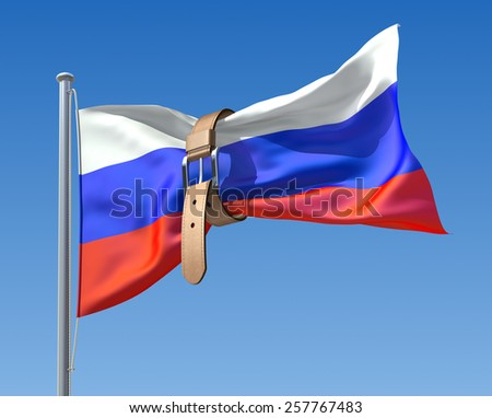 3D budget crisis concept with Russian flag and tighten belt - stock photo