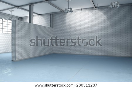 3d building interior with white brick walls and blue flooring without furnishing - stock photo