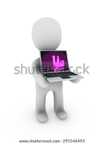 3d building on screen  - stock photo