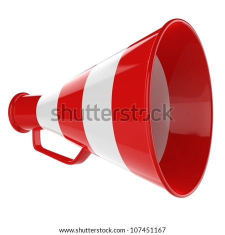 3D Bullhorn... Retro megaphone in a red and white colors isolated on white background. - stock photo