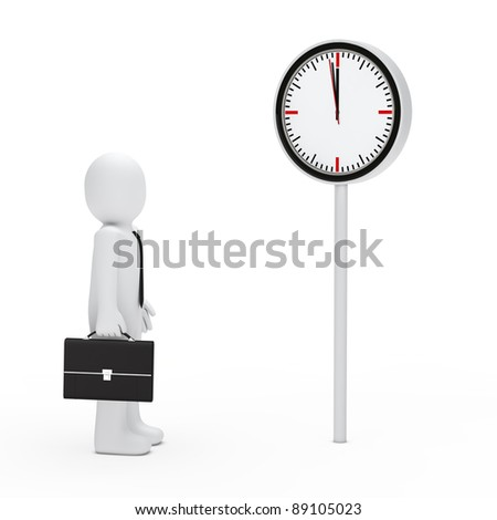 3d business briefcase stand for a clock - stock photo