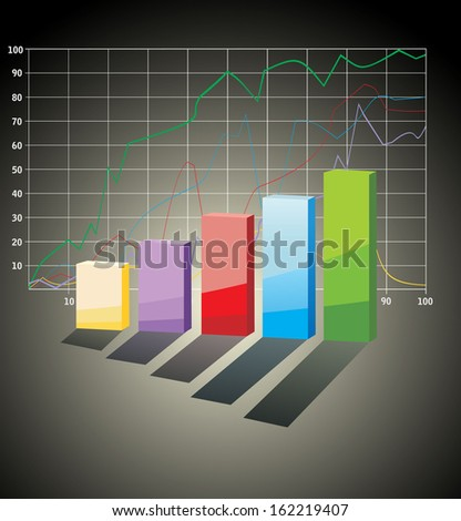 3D Business charts - stock photo