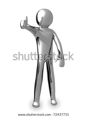 3D Business chrome man with thumb up - stock photo