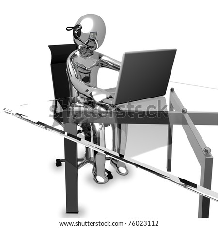 3D Business chrome working in a call center - stock photo
