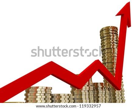3d business graph - stock photo