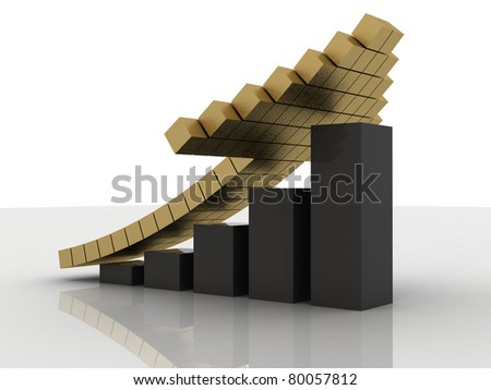 3d Business graph - stock photo
