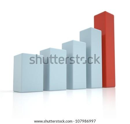 3D business graph, chart, diagram, bar - stock photo