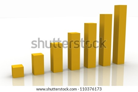 3d business graph on a white background - stock photo