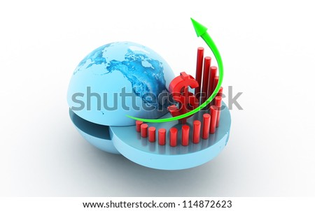 3d Business graph with dollar sign - stock photo