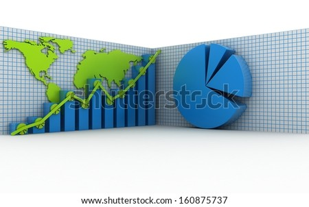 3d business graph with pie diagram - stock photo