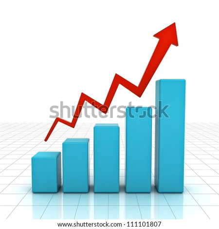 3d business graph with rising arrow over white background - stock photo