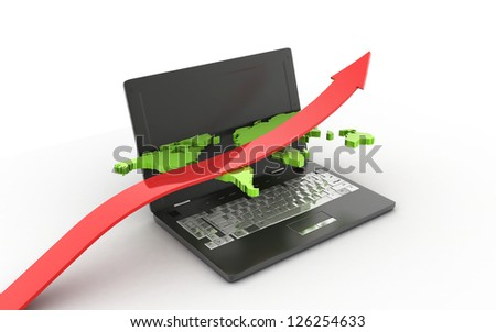 3d business growth concept on white background - stock photo