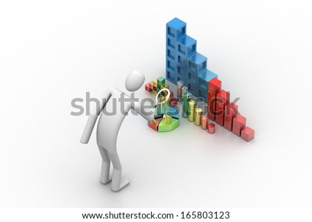 3d business man analyzing the graph and documents - stock photo