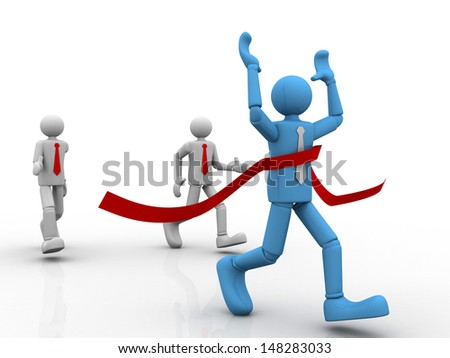 3d business man  crossing the finishing line, winner  - stock photo