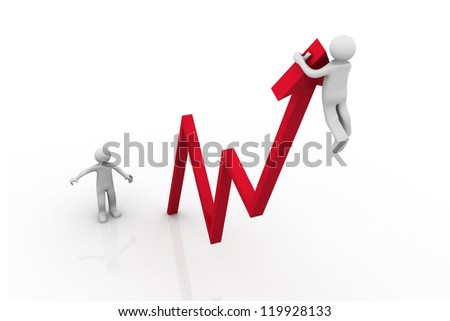 3D business man hanging from an arrow going for success - stock photo