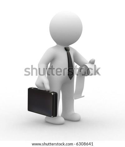 3d business man keep an invoice and a briefcase - stock photo