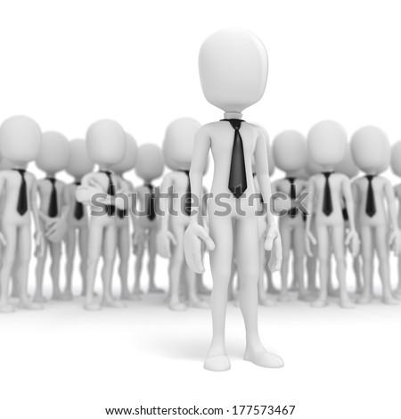3d business man leader - stock photo