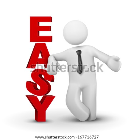 3d business man presenting word easy concept isolated white background - stock photo