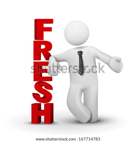 3d business man presenting word fresh isolated white background - stock photo