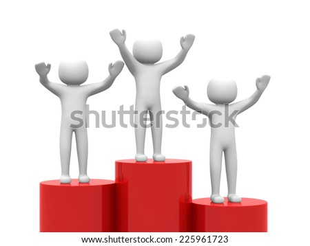3d business man standing with arms wide open on top of red bar. Isolated over white background - stock photo