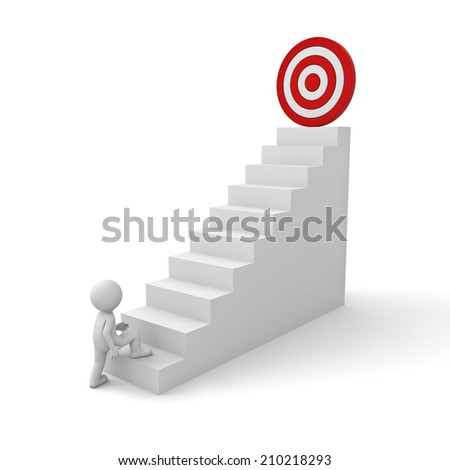 3d business man stepping up to his successful goal on top of the stairs over white background - stock photo