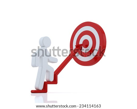 3d business man stepping up to his successful goal on top of the steps over white background  - stock photo