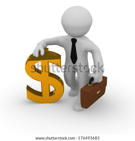 3d business man with a golden dollar icon - stock photo