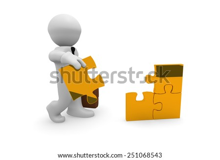 3d business man with a golden piece of puzzle - stock photo