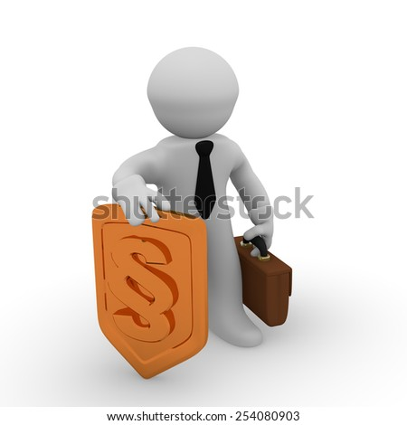 3d business man with a golden protective shield with a paragraph icon - stock photo