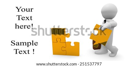 3d business man with golden pieces of puzzle - stock photo