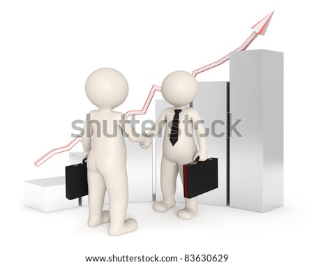 3d business men making a deal and shaking hands in front of a growing financial graph - Image on white background with soft shadows - stock photo