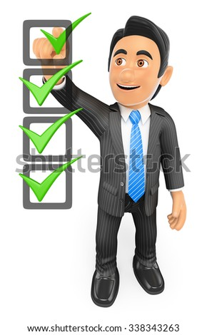 3d business people. Businessman filling a check list with ticks. Isolated white background. - stock photo