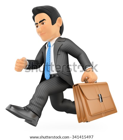3d business people. Businessman running with his briefcase in a hurry. Isolated white background. - stock photo