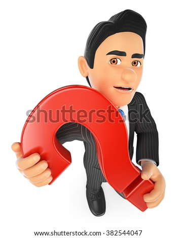 3d business people. Businessman with a huge question mark. Isolated white background. - stock photo