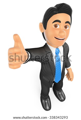 3d business people. Businessman with thumb up. Success. Isolated white background. - stock photo