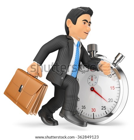 3d business people. Businessman working against stopwatch. Time concept. Isolated white background. - stock photo