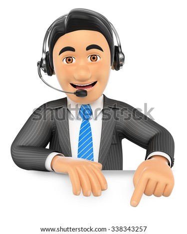 3d business people. Call center employee pointing down. Blank space. Isolated white background. - stock photo