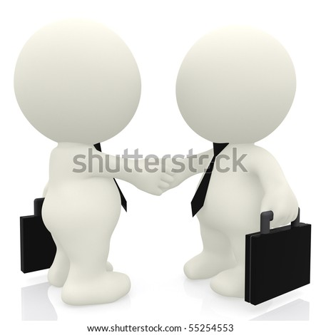 3D business people handshake - isolated over a white background - stock photo