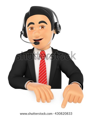 3d business people illustration. Call center employee pointing down. Blank space. Isolated white background. - stock photo