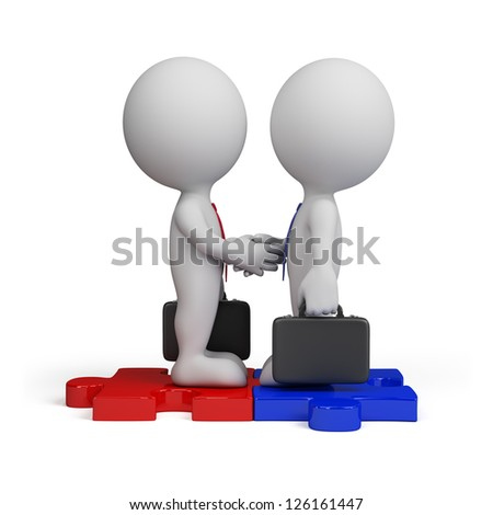 3d business people standing on the puzzle and make a handshake. 3d image. Isolated white background. - stock photo